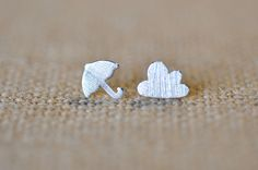 Umbrella and Puffy Cloud Mismatched Stud Earrings, Cloud Earrings, Umbrella Earrings, Jamber Jewels by JamberJewels on Etsy https://www.etsy.com/listing/265868851/umbrella-and-puffy-cloud-mismatched-stud