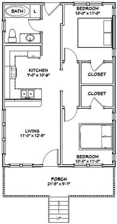 Combine bedrooms to make 1 master with large bathroom and walk in closet and make service porch for freezer washer dryer instead of bathroom in House -- -- 704 sq ft - Excellent Floor Plans Guest House Plans, 2 Bedroom House Plans, Small House Floor Plans, Cabin Floor Plans, Cottage House Plans, Craftsman House Plans, Dream House Plans, 2 Bedroom Apartment Floor Plan, Guest Cottage Plans