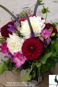 stunning dahlias make this wedding bouquet. A rustic popular unstructured posy