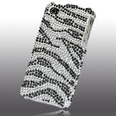 Rhinestones Protector Case for iPhone 4, Zebra Stripes Full Diamond
