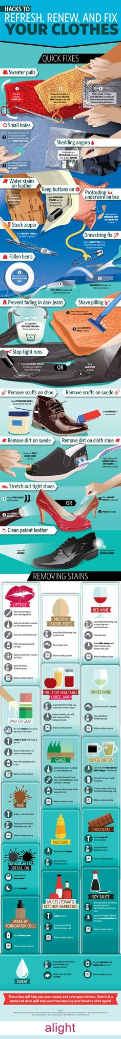 This Graphic Shows You How to Repair Common Clothing Problems