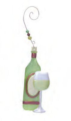 Celebrating the season with a little white wine? Then hang a White Wine Glass and Bottle Ornament from your tree. Wine bottle is green with burgundy accents Glass Christmas Tree Ornaments, White Box, Little White, White Wine, Decorative Bells, Wine Glass, Burgundy, Bottle, Happy