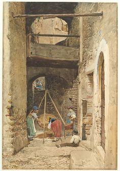 Italian Courtyard and Figures watercolor -  Cavaliere Pio Joris (Italian, Rome 1843–1921 Rome)    #TuscanyAgriturismoGiratola