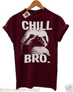 Chill-Bro-Sloth-T-Shirt-in-Burgundy-Cool-Mens-Hipster-Ladies-Swag-SALE