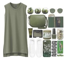 """""""Into the wild"""" by perfectharry ❤ liked on Polyvore featuring Royce Leather, La Ligne, OPI, Uniqlo, Ray-Ban, Angela Roi, Anine Bing, Threshold, NARS Cosmetics and Olivina"""