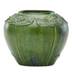 Merrimac Pottery - Matte Green Glaze - Arts & Crafts