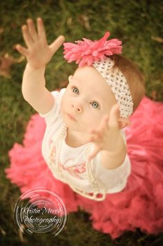 Adorable 1st Birthday girl all dressed up - Kristin Merck Photography, LLC