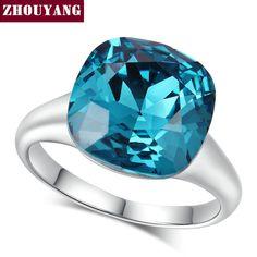 En Kaliteli ZYR083 Sihirli Mavi Kristal Yüzük Gümüş Renk Avusturyalı Kristaller Tam Boyutları Toptan