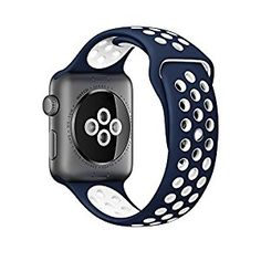 Amazon.com: Apple Watch 42mm Nike Sport Band, iMiWell Soft Silicone Quick Release Replacement Strap for Apple iWatch Series 1 Series 2, Apple Watch Nike+ (42mm Small/Medium Navy+White): Cell Phones & Accessories Apple Watch 42mm, Apple Watch Nike, Apple Watch Series 2, Apple Watch Bands, Apple Band, Smartwatch, Sport Watches, Watches For Men, Women's Watches