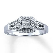 My new engagement ring...LOVE IT! (Kay Jewelers-10K White Gold 1/3 Carat t.w. Diamond Engagement Ring)