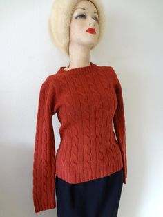 1970s Wool Sweater  cable knit crew neck by NESTdesignstudio