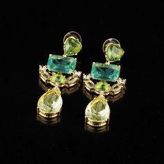 NEW Beach Mint Turquoise Crystal Statement Resin Drop Bubble Dangle Earrings US #DropDangleStatement