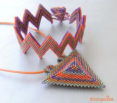 Doublesided bracelet and 3D pendant  in by PlumidiaCollection.