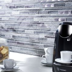 Kenton Grey Glass/Stone/Metal Mix Offset Linear Mosaic Buy Now At Horncastle Tiles For Lowest UK Prices!
