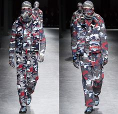 Moncler Gamme Bleu 2016-2017 Fall Autumn Winter Mens Runway Catwalk Looks Thom Browne - Milano Moda Uomo Collezione Milan Fashion Week Italy - Camo Camouflage Jungle Military Urban Cat Burglar Knit Mask Cardigan Wool Fleece Jumpsuit Coveralls Outerwear Trench Coat Furry Quilted Cloak Cape Hanging Sleeve Embroidery Bedazzled Studs Gloves Boots Suit Blazer Jacket Layers Patchwork Pinstripe Vest Herringbone Houndstooth