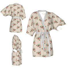 Kimono robe,floral robe,rose flower robe,vintage kimono,champagne robe,Bridesmaid robe,getting ready robes,Bridesmaids gift,Bridal Robe by OkopipiDesign on Etsy