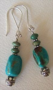 Handmade Kingman turquoise earrings #handmade #jewelry #earrings handmade-beaded-gemstone-jewelry.com
