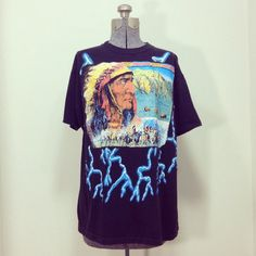 Mens Vintage Tshirt / First Nation - Native American Scenic Print with Lightning by BeatificVintage, $22.00