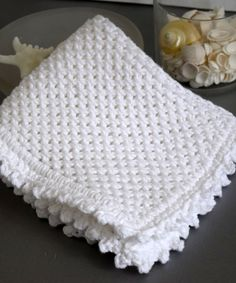 Hand Knit White Washcloth