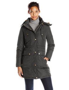 Cole Haan Women's Down Parka with Drawcord Details and Flap Pockets, Black, Medium
