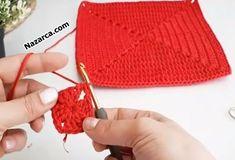 BONCUKLU PÜSKÜLLÜ KIRMIZI ZİKZAKLI ÇANTA YAPIMI | Nazarca.com Knitted Hats, Crochet Hats, Knitting, Fashion, Bags, Amigurumi, Knit Hats, Moda, Tricot