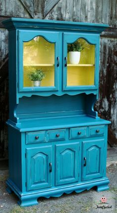 Vintage Teal and Lightning Bug Yellow Hutch by FunCycled www.funcycled.com