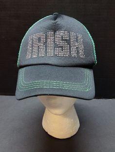 a983cf61570 Irish Hat Cap Snapback Black Green Silver Studs Half Mesh | Clothing, Shoes  &
