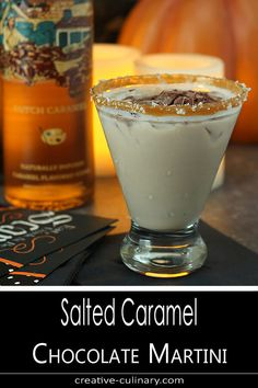 Although I like to make a cocktail for Halloween, don't let this Salted Caramel Chocolate Martini be limited to only then; it's a great dessert drink for any season! Salted Caramel Martini, Salted Caramel Chocolate, Chocolate Caramels, Chocolate Martini Recipe With Kahlua, Vodka Caramel, Chocolate Tarts, Cocktail Desserts, Dessert Drinks, Yummy Drinks