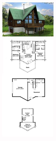 A-Frame House Plan 41165 | Total Living Area: 1568 sq. ft., 2 bedrooms and 2.5 bathrooms. #aframe: