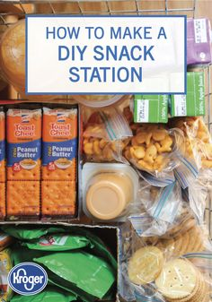 We love any way to make packing lunch easier. This DIY Snack Station from Inspir… - Kinder Mittagessen Peanut Butter Crackers, Peanut Butter Toast, Healthy Office Snacks, Snack Station, After School Snacks, School Lunch, Packing Lunch, Diy Snacks, Backpacking Food