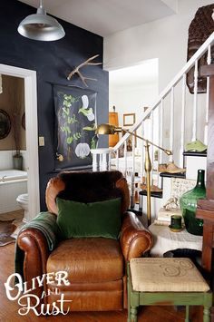 Love this color scheme - and already have the leather couch and botanical chart to get started.