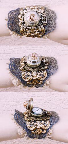 Boho rose watch cuff by Pinkabsinthe.deviantart.com on @deviantART