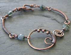 Moss Agate Copper Wire Wrapped Bracelet Green...like the link design. Rachael