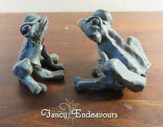 TWO Art Pottery Stoneware Matt Green Frog Figurines Signed Margot?