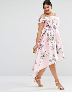 f24ab3349877 Image 4 of Chi Chi London Plus Printed Bardot Maxi Dress With Hi Lo Hem Plus