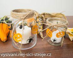 Podzimní dekorace - halloweenský svícen / Návody na vyřezávání Cutting Plotter, Halloween, Kindergarten, Nursery, Autumn, Mugs, Tableware, Top, Crafts