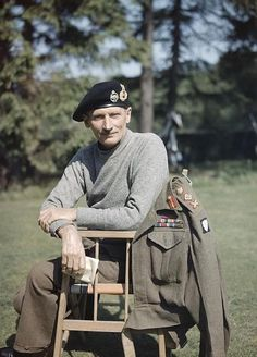 Portrait of the Eighth Army Commander, General Sir Bernard Montgomery, wearing his 'battle sweater' and tank beret, in the UK, 1943. Half-l...