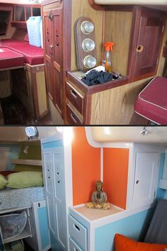 """""""Varuna"""" - Luders 33 - Before and After - Starboard-Side Forward Cabinetry and V-Berth."""