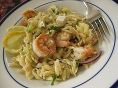 Sweet Peas and Pumpkins: Lemony Orzo with Shrimp and Feta Best Pasta Salad, Good Food, Yummy Food, Sweet Peas, Orzo, Fish And Seafood, Healthy Recipes, Healthy Meals, Pasta Dishes