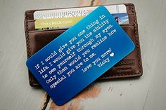 Custom Wallet Card, Personalized Engraved Wallet Insert, Personalized Wallet Card, Mini Love Note, Metal Wallet Card - Anniversary, Valentine's Day, Father's Day, Groom's Gift For Him -- Find out more about the great product at the image link.