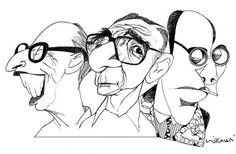https://www.facebook.com/photo.php?fbid=919065201469102 /// Nem tão da boca do forno assim: Caricaturas de três grandes da poesia brasileira: Da esquerda para a direita, Manuel Bandeira (1886 -1968), João Cabral de Melo Neto (1920-1999) e Mario de Andrade ( 1893-1945)