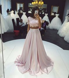 2016 Two-Piece Prom Dresses Pink Lace Short Sleeves Elegant Long Evening Gowns