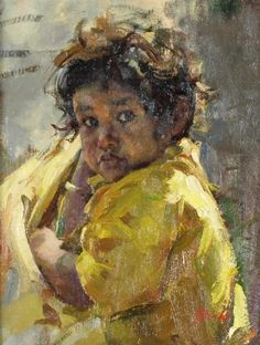 Del Gish, Toddler in Yellow 2015, oil