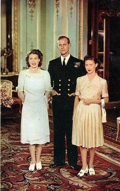Prince Philip with his wife Queen Elizabeth of England, and the sister  Princess Margaret