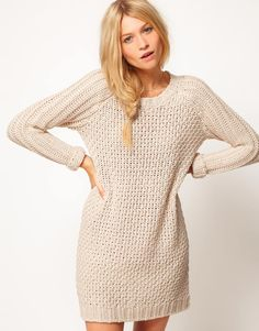 Asos Collection Asos Textured Stitch Jumper Dress in Beige (cream) Jumper Dress, Fashion Lookbook, Autumn Winter Fashion, Winter Style, Style Me, Cute Outfits, Party Outfits, Fall Outfits, Clothes For Women