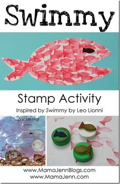 Swimmy by Leo Lionni Fish Stamp Activity from Mama Jenn--Beneath the Surface? Fish Activities, Book Activities, Swimmy Leo Lionni, Preschool Books, Preschool Ideas, Author Studies, Ocean Themes, Children's Literature, Little Books