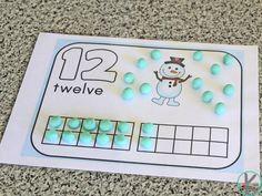 Winter Playdough Counting Mats – Kindergarten Worksheets and Games Homeschool Kindergarten, Kindergarten Worksheets, Worksheets For Kids, Preschool, Snow Activities, Counting Activities, Brown Bear Book, Counting To 120, January Crafts