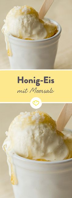 Honey ice cream with sea salt (without ice machine)- Honig-Eis mit Meersalz (ohne Eismaschine) Making ice cream can be that easy! Without ice machine and … - Summer Desserts, Easy Desserts, Dessert Recipes, Summer Recipes, Summer Drinks, Make Ice Cream, Ice Cream Maker, Cream Cream, Cream Cake