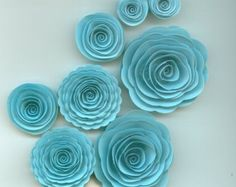 Sky Blue Handmade Spiral Paper Flowers by crazy2becrazy on Etsy