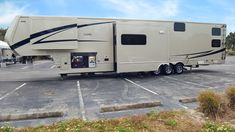 Lovely minimal look. You can see this Luxe luxury toy hauler in Tampa, FL. Jan 14-16. It's available. (844)284-6678 #luxuryfifthwheel Fifth Wheel Toy Haulers, Fifth Wheel Campers, Luxury Fifth Wheel, Paint Schemes, Big Time, Motorhome, Dream Homes, Recreational Vehicles, Rv